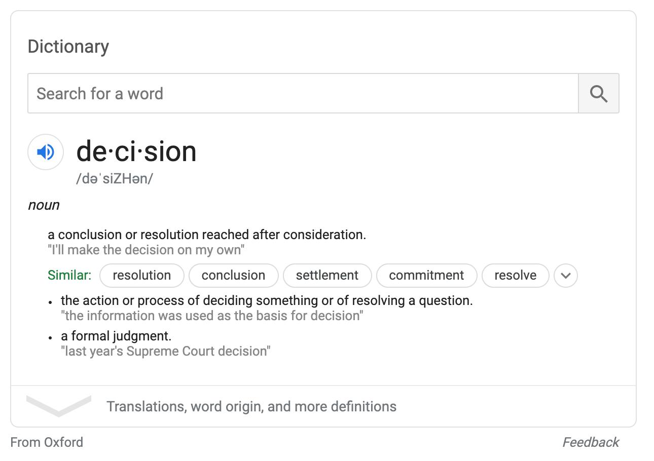 decision definition